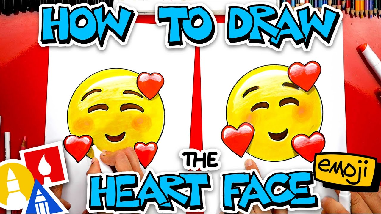 How To Draw The Heart Face Emoji 🥰